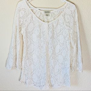 Lucky Brand Boho Floral Lace White Cardigan Small